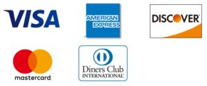 VISA・Mastercard・JCB ・American Express・Diners Club・DISCOVE